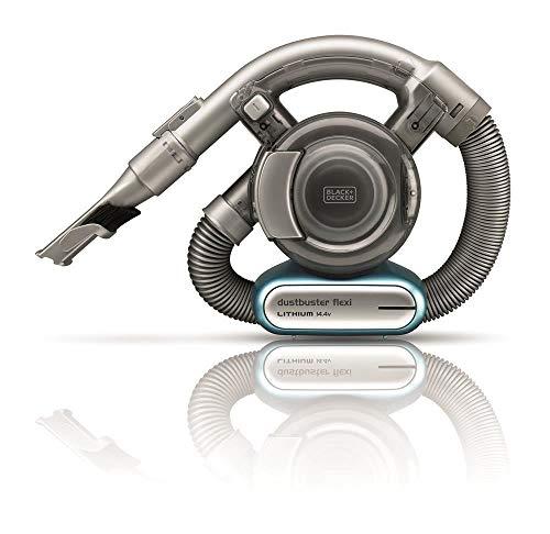 BLACK+DECKER PD1420LP-QW Aspirateur à Main sans fil - 10,8 V - Autonomie : 10 min - Charge : 4h - Base de charge - Prolongateur Intégré et Brosse Retractable , 560 ml, Bleu, Métallique
