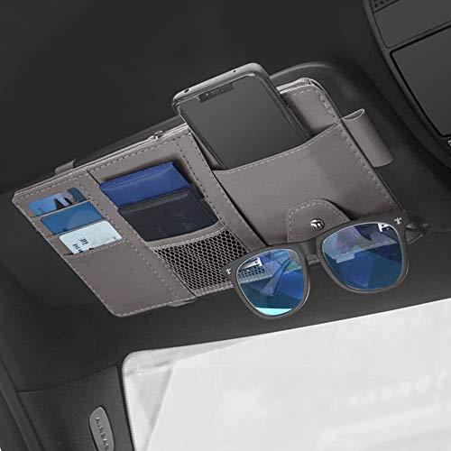 SEMBEM Car Sun Visor Organizer, Auto Interior Accessories Pocket Organizers, Registration and Document Holder, Personal Belonging Storage Pouch Organizer, Interior Accessories Pocket Organizer (Grey)