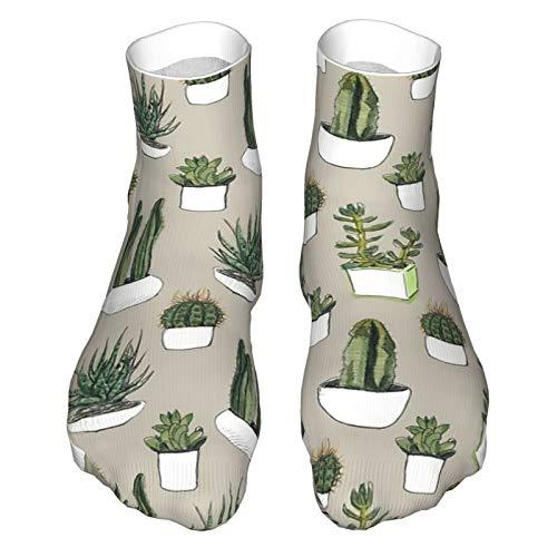 Aquarell Kakteen und Sukkulenten - Beige Erwachsene Socken Low-Cut Socken Freizeitsocken Atmungsaktive Sportsocken Unisex 30cm