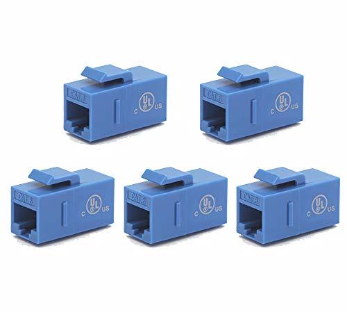 VCE 5-Pack CAT6 Keystone Coupler RJ45 Female to Female Ethernet Insert Jack UTP Network Inline Connector - Blue UL Listed