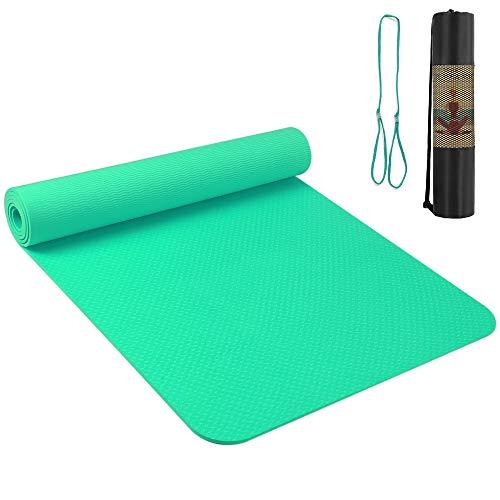 Roeam TPE Yogamatte Sportmatte Fitnessmatte Gynastikmatte Trainingsmatte Rutschfest für Yoga Pilates Fitness, Jogamatte mit Tragegurt und Tasche