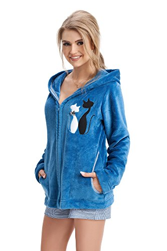 LEVERIE Damen Homewear Kuscheljacke (made in EU) in tollem Design, Gr. S, Blau-Katze