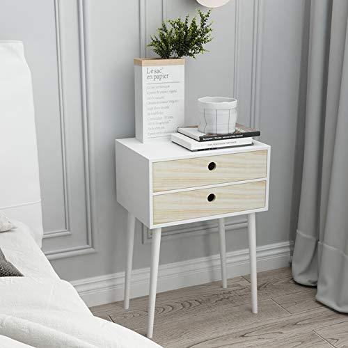 Sogesfurniture - Mesita de noche con 2 cajones, mesa auxiliar, 45 x 32 x 65 cm, color blanco, BHEU-SYS1003