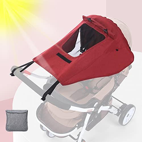 Parasol para Cochecito, Sombrilla para Cochecito, Toldo Universal para Bebés Cochecitos, Parasol Ajustable con Protección UV 50+, Función de Persiana Enrollable (Rojo)