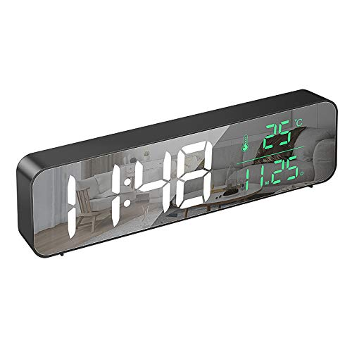 STRMSF Despertador Digital LED, Despertador Espejo Electrónica, Reloj Digital con Cable USB Pantalla Hora, Fecha, Temperatura, Función Snooze 40 Música Despertadores Digitales [Regalo]