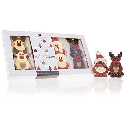 Santas & Reindeer - 8 Schoko-Täfelchen zu Weihnachten | Schokolade | Weihnachten | Weihnachtsschokolade | Weihnachtsgeschenk | Kinder und Erwachsene | Weihnachtsmann | Rentier