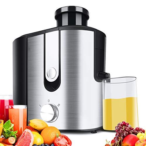 Clikon Juicer Extractor de Jugos 600W Power Easy Clean Prensa Máquina de jugo centrífugo Ancho 65 mm Canal de alimentación para frutas y verduras enteras, antigoteo, alta calidad, sin BPA, grande, plateado
