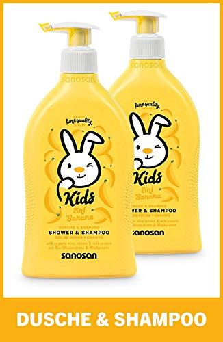 sanosan 2in1 Dusche & Shampoo Banane für Kinder - Duschgel & Haarshampoo mit Bio Olivenextrakt & Milchprotein im 2er Pack (2x 400 ml)