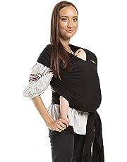 ボバラップベビーキャリア、独自の伸縮性の抱っこ紐、新生児と15kgまでの赤ちゃんに最適 (Black)