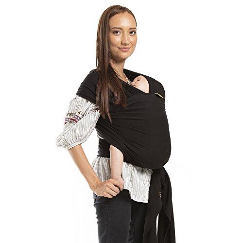 Boba Wrap Echarpe De Portage, Noire – Le Modèle Original De L'Echarpe De Portage Extensible Pour Les Bébés, Parfaite Pour Les Nouveau-Nés Et Enfants Pesant Jusqu'à 16 kg