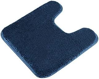 Contour Bath Rug, Seavish Microfiber Shaggy U-Shaped Toilet Contour Rug Toilet Mat Bath Mat Non Slip Bathroom Rug 19.5X 19.5 Inches,Navy Blue