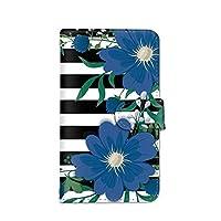 seventwo LG Style3 L-41A スマホケース 手帳型 携帯ケース カードホルダー エルジー スタイル スリー 【D.ブルー】 花柄 ボーダー 植物 flower_068