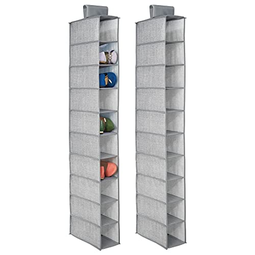 mDesign Portascarpe da appendere – Set da 2 – Perfetta scarpiera e organizer armadio – Funzionale scaffale per scarpe, vestiti e accessori – 10 ripiani – Colore: grigio