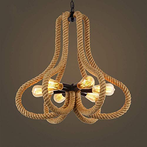 YANGQING Lámpara de techo con 6 luces colgantes, estilo vintage, para cocina, comedor, mesa, iluminación