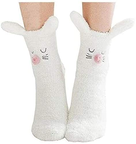 XLKJ Niedlich Karikatur Hase Fußboden Socken,Winter Warme Plüsch Socken Anti-Rutsch Socken