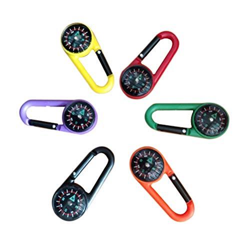 Toyvian Kompass Schlüsselbund Klettern Karabiner Outdoor Selbsthemmend Karabiner Clip Haken Schlüsselbund für Reisen Wandern 18 stücke (zufällige Farben)