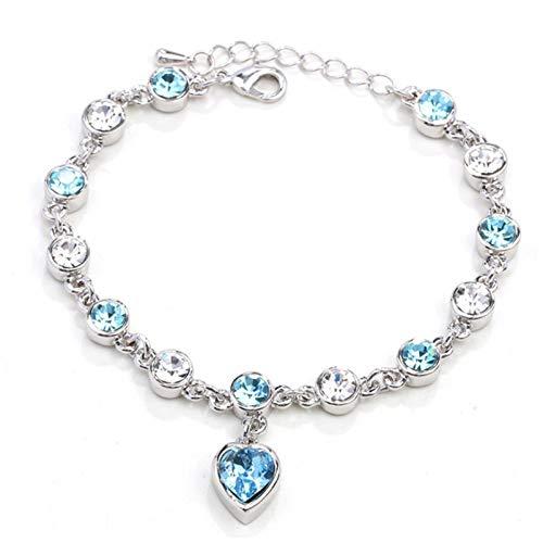 ZBOMR Pulsera De Cristal Corazón Pulseras De Cristal Para Mujeres Niñas Infinity Love Heart Link Pulsera Ajustable Con Cristal Pulseras De Corazón Joyería Regalos De Cumpleaños (Cielo Azul)