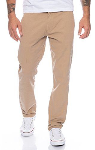 Rock Creek  Herren Designer Chino Hose Regular Slim Chinohose, 36W / 30L, Dunkelbeige