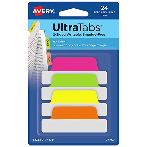 Avery Margin Ultra Tabs, 2.5 x 1, 2-Side Writable, Assorted Neon Color, 24 Repositionable Page Tabs (74767)