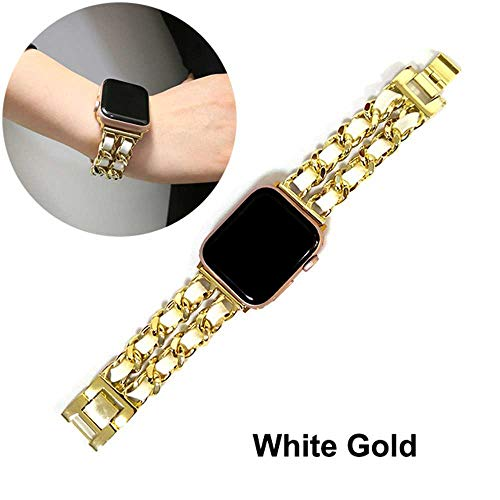 LANGY roestvrij stalen armband voor Apple Watch 5 4 40 mm 44 mm armband, geschikt voor Iwatch Series 3 2 38 mm 42 mm armband, for 40 MM, witgoud