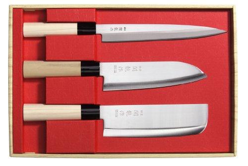 Set 3 Coltelli Giapponesi SekiRyu Sashimi, Santoku & Nakiri SR800 - Lama Acciaio Inox