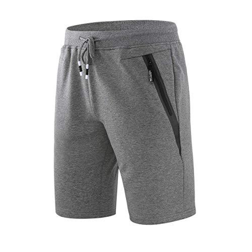 CLOUSPO Short Sport pour Homme Séchage Rapide Short de Course avec Poches Zippées Léger Respirant pour Jogging Entraînement Gym Fitness été Coton(Gris,L)