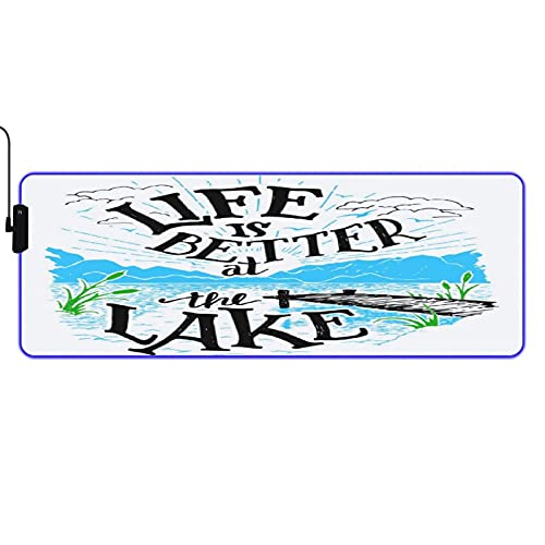 MISCERY Glowing Mouse Pad,Cabin Decor Life is Better at The Lake Wooden Pier Plants Mountains Outdoors Sketch,Rectangular Gaming Mouse Pads for Laptop Computer PC Games Office Home