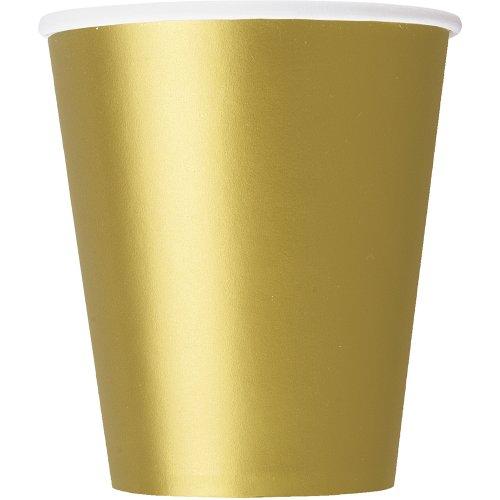 Unique Party 33246 - 266ml Bicchieri di Carta Dorati, Confezione di 14