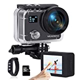 WEAKNESS Action Camera 4K 50FPS 24MP Underwater Camera Waterproof 131ft Touch Screen Sport Camera Support External Mic Remote Control with 32GB Micro SD Card
