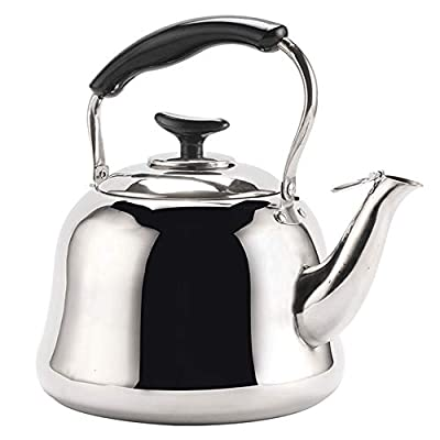 2 Liter Tea Kettle, Stainless Steel Hot Water Kettle, Whistling Stovetop Teapot, Teakettles with Folding Handle, Mirror Finish Tea Kettle for Home, Hotel, Coffee Shop