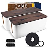 2 Pack Cable Management Box – Large & Medium Wooden Style Cord Organizer Box and Cover for TV Wires, Computer, Router, USB Hub and Under Desk Power Strip – Safe ABS Material and Baby-Pets Proof Lock