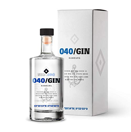 040 Gin inkl. hochwertiger Geschenkverpackung - Manufaktur Gin des HSV - fruchtig frischer Hamburger Gin (1 x 0,5l)
