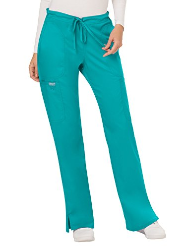 WW Revolution by Cherokee Women#039s Mid Rise Moderate Flare Drawstring Pant Teal Blue Large