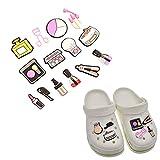 14 abalorios de forma cosmética para zapatos, decoración linda de PVC, decoración de zapatos, para niños y niñas, mujeres, sandalias de zueco, pulsera de pulsera y accesorios decorativos