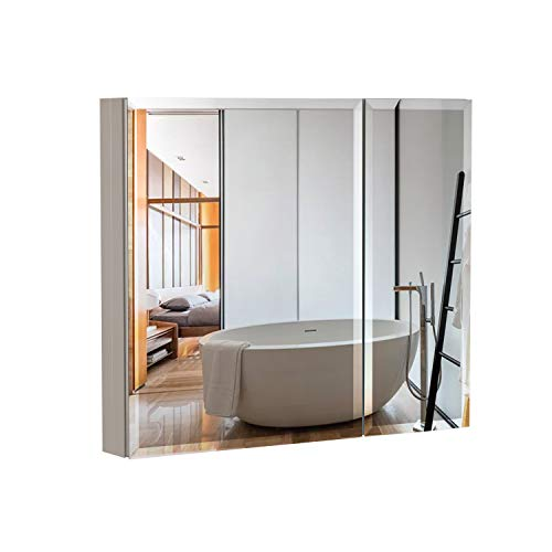 B&C 30x26Aluminum Medicine Cabinet with Mirror|Color Satin|Bathroom Mirror Cabinet with Adjustable Glass Shelves|Storage Cabinet for Bathroom Recessed or Surface Mounting