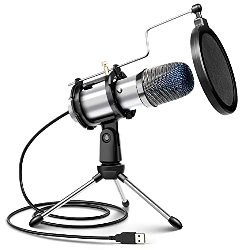 Micrófono PC USB, Micrófono de Condensador PS4 con Trípode para Grabación de Estudio, Audio Chat en Línea para Facebook TIK Tok Skype Youtube, Ordenador Portátil, Tableta, Móvil, Mac, Plata