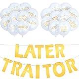 21 Piezas Suministros de Fiesta de Oficina de Último Día Bandera de Traitor Globos de Compañero de Trabajo que Se Va para Decoracion Fiesta Salir Dejar Reubicación Cambio de Trabajo Jubilación (Gold)