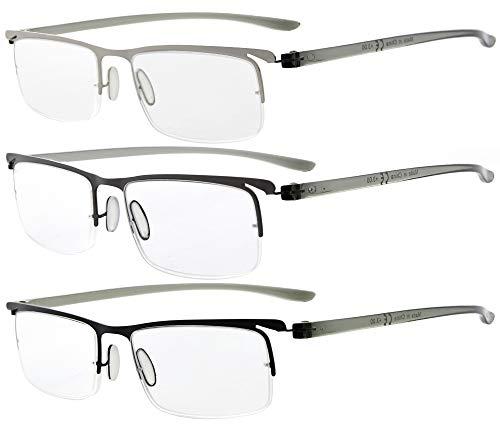 Eyekepper 3er-Pack Schläfenbrille aus Kunststoff mit leichtem Halbrand-Lesebrille Herren Damen Mix +0.75
