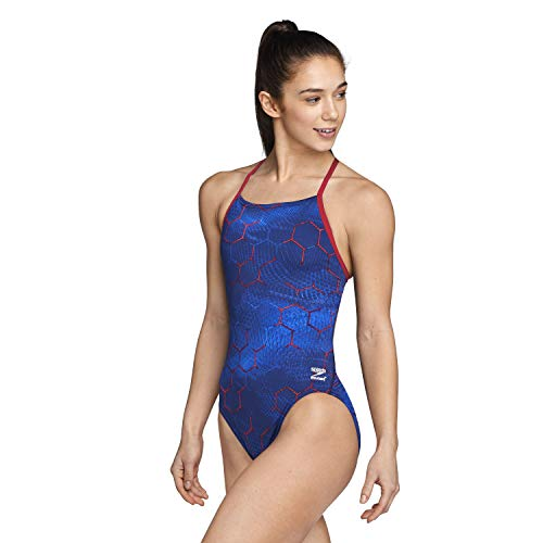 Speedo Women's Swimsuit One Piece Endurance+ Cross Back Printed Adult Team Colors, Emerging Red/White/Blue, 30