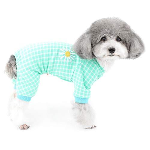 ZUNEA Kleine Hunde Pyjama Plaid Winter Warm Schlafanzug Jumpsuit Overalls Weiche Baumwolle Welpen Schlafkleidung Kleidung Haustier Indoor Pullover Bekleidung Chihuahua Outfits Kleider Grün XXL
