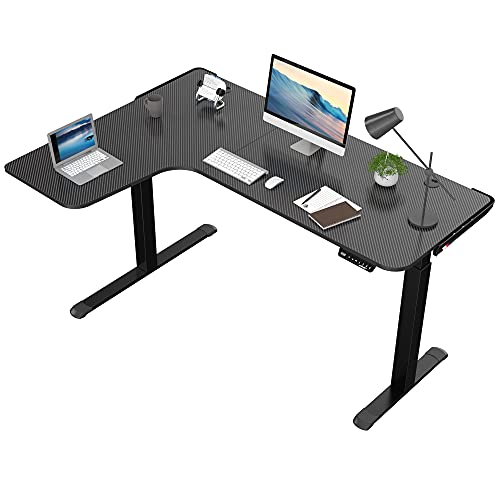 DESIGNA L Shaped Electric Standing Desk, 61inches Height Adjustable Corner Home Office Desk, Modern Workstation with Free Large Mouse Pad, Black