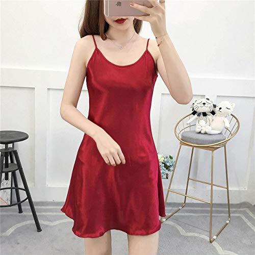Handaxian Pijamas de satén de Color Liso para Mujer Mini