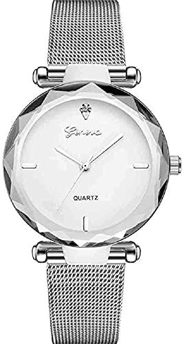 JZDH Mano Reloj Reloj de Pulsera Reloj de Plata Relojes Femeninos de Moda Lady Luxury Quartz Wristwatch Vestido de Acero Inoxidable Relojes Relojes Decorativos Casuales (Color : Silver 2)