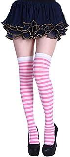 thematys®, thematys Medias de Rodilla de Mujer en 5 diseños Diferentes - Calcetines de diseño Retro de Rayas para niñas y Mujeres (Style 4)