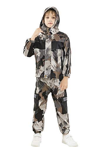 Rolanko 2 Stück Trainingsanzug Kinder Jungen Langarm Outfits Camo Jogginganzug Jacke + Cargohose Bekleidungsset(Braun,146-152)