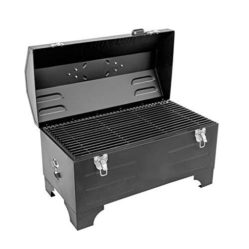 Tragbare Charcoal BBQ Grill Auto Outdoor BBQ Grill-Picknick im Freien Grill Werkzeugen Carbon-Grill Kleiner Grill, Schwarz (Color : Black)