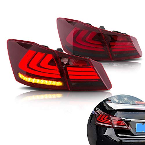 MOSTPLUS RED SMOKE LED Brake Tail Lights Compatible for 2013-2015 Honda Accord 4 Door Sedan Set of 2