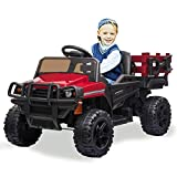 kidsclub Ride on Tractor with Trailor, 12v Power Wheel Ride-on Truck for Kiddo, Rechargeable Battery Powered Electric Vehicle, Toddler Riding Truck Toy with Remote Control, Music, Light & Radio(Red)