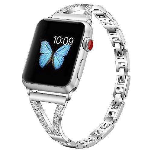 PUGO TOP Replacement for Apple Watch Band 44mm 42mm for Iwatch Series 6/5/4/3/2/1/SE Stainless Steel Bling...