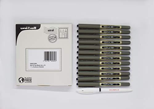 Uni-ball UB-157 - Penna roller Eye con inchiostro nero, 12 + 1 gel esclusivo